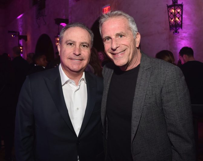 """LOS ANGELES, CA - MAY 21: Walt Disney Studios President, Alan Bergman (L) and Executive producer Marc Platt attend the World Premiere of Disney's """"Aladdin"""" at the El Capitan Theater in Hollywood CA on May 21, 2019, in the culmination of the film's Magic Carpet World Tour with stops in Paris, London, Berlin, Tokyo, Mexico City and Amman, Jordan. (Photo by Alberto E. Rodriguez/Getty Images for Disney) *** Local Caption *** Alan Bergman; Marc Platt"""