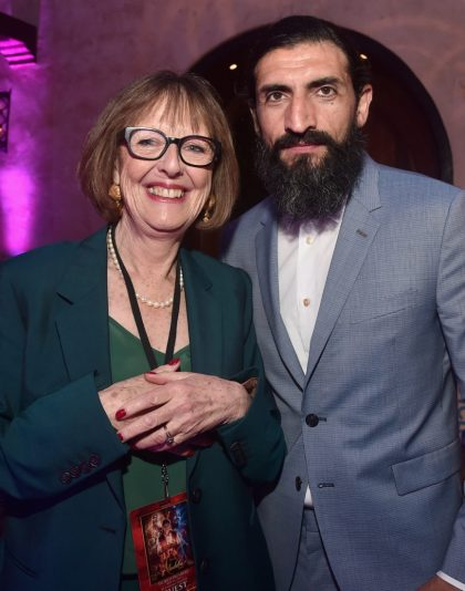 """LOS ANGELES, CA - MAY 21: Production designer Gemma Jackson (L) and Numan Acar attend the World Premiere of Disney's """"Aladdin"""" at the El Capitan Theater in Hollywood CA on May 21, 2019, in the culmination of the film's Magic Carpet World Tour with stops in Paris, London, Berlin, Tokyo, Mexico City and Amman, Jordan. (Photo by Alberto E. Rodriguez/Getty Images for Disney) *** Local Caption *** Gemma Jackson; Numan Acar"""