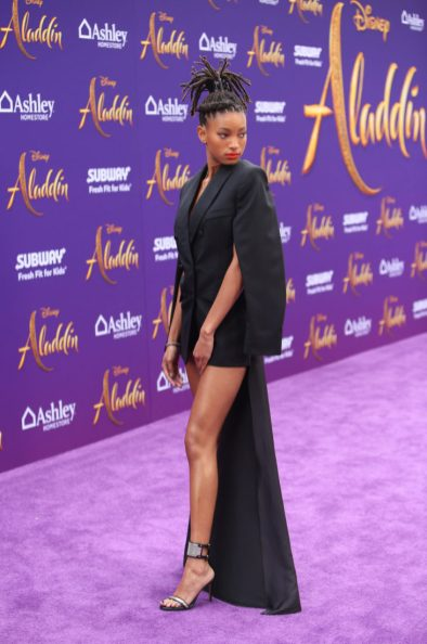 """LOS ANGELES, CA - MAY 21: Willow Smith attends the World Premiere of Disney's """"Aladdin"""" at the El Capitan Theater in Hollywood CA on May 21, 2019, in the culmination of the film's Magic Carpet World Tour with stops in Paris, London, Berlin, Tokyo, Mexico City and Amman, Jordan. (Photo by Jesse Grant/Getty Images for Disney) *** Local Caption *** Willow Smith"""