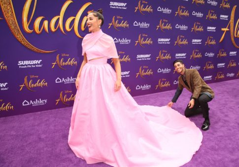 """LOS ANGELES, CA - MAY 21: Naomi Scott (L) and Mena Massoud attend the World Premiere of Disney's """"Aladdin"""" at the El Capitan Theater in Hollywood CA on May 21, 2019, in the culmination of the film's Magic Carpet World Tour with stops in Paris, London, Berlin, Tokyo, Mexico City and Amman, Jordan. (Photo by Jesse Grant/Getty Images for Disney) *** Local Caption *** Naomi Scott; Mena Massoud"""
