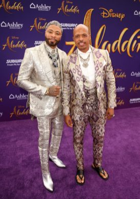 """LOS ANGELES, CA - MAY 21: Choreographer Jamal Sims (R) and Octavius Terry attend the World Premiere of Disney's """"Aladdin"""" at the El Capitan Theater in Hollywood CA on May 21, 2019, in the culmination of the film's Magic Carpet World Tour with stops in Paris, London, Berlin, Tokyo, Mexico City and Amman, Jordan. (Photo by Jesse Grant/Getty Images for Disney) *** Local Caption *** Jamal Sims; Octavius Terry"""