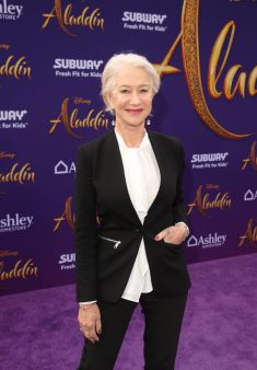 """LOS ANGELES, CA - MAY 21: Helen Mirren attends the World Premiere of Disney's """"Aladdin"""" at the El Capitan Theater in Hollywood CA on May 21, 2019, in the culmination of the film's Magic Carpet World Tour with stops in Paris, London, Berlin, Tokyo, Mexico City and Amman, Jordan. (Photo by Jesse Grant/Getty Images for Disney) *** Local Caption *** Helen Mirren"""