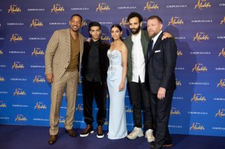 (L-R) Will Smith, Mena Massoud, Naomi Scott, Marwan Kenzari and Guy Ritchie attend the European Gala Screening of DisneyÕs ÒAladdinÓ on May 9th at LondonÕs ODEON Luxe in Leicester Square, London UK.