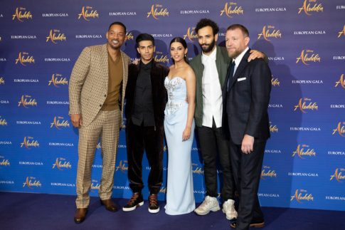 (L-R) Will Smith, Mena Massoud, Naomi Scott, Marwan Kenzari and Guy Ritchie attend the European Gala Screening of DisneyÕs ÒAladdinÓ on May 9th at LondonÕs ODEON Luxe in Leicester Square, London UK.