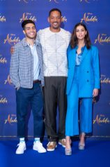 "Mena Massoud, Will Smith and Naomi Scott attend the photo call to celebrate the release of Disney's ""Aladdin"" on May 10th in London, UK"