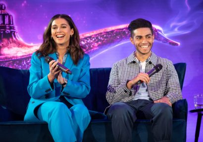 Naomi Scott and Mena Massoud attend the press conference to celebrate the release of DisneyÕs ÒAladdinÓ on May 10th in London, UK