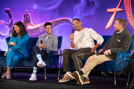 """Naomi Scott, Mena Massoud, Will Smith and Guy Ritchie attend the press conference to celebrate the release of Disney's """"Aladdin"""" on May 10th in London, UK"""