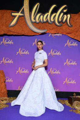 """PARIS, FRANCE - MAY 08: Naomi Scott, wearing a Off-White by Virgil Abloh dress attends the """"Aladdin"""" gala screening at Le Grand Rex on May 08, 2019 in Paris, France. (Photo by Pascal Le Segretain/Getty Images For Disney)"""