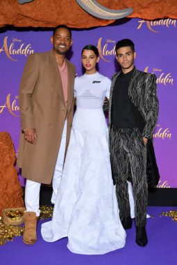 """PARIS, FRANCE - MAY 08: (L-R) s, wearing a Off-White by Virgil Abloh dress and Mena Massoud attend the """"Aladdin"""" gala screening at Le Grand Rex on May 08, 2019 in Paris, France. (Photo by Pascal Le Segretain/Getty Images For Disney)"""
