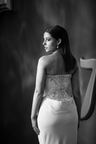 """LONDON, ENGLAND - MAY 09: (EDITORS NOTE: Image has been converted to black and white) Naomi Scott attends the European Gala Screening of Disney's """"Aladdin"""" at Odeon Leicester Square on May 09, 2019 in London, England. (Photo by Gareth Cattermole/Getty Images for Disney)"""
