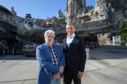Bob Iger and George Lucas Tour Star Wars: Galaxy's Edge at Disneyland Park Ahead of Opening Bob Iger, Walt Disney Company Chairman and CEO (right), and George Lucas,Star Warscreator, stand in front of the Millennium Falcon at Star Wars: Galaxy's Edge at Disneyland Park in Anaheim, California, May 29, 2019.Star Wars: Galaxy's Edgeopens May 31, 2019, at Disneyland Resort in California and Aug. 29, 2019, at Walt Disney World Resort in Florida.