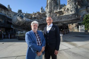 Bob Iger and George Lucas Tour Star Wars: Galaxy's Edge at Disneyland Park Ahead of Opening Bob Iger, Walt Disney Company Chairman and CEO (right), and George Lucas, Star Wars creator, stand in front of the Millennium Falcon at Star Wars: Galaxy's Edge at Disneyland Park in Anaheim, California, May 29, 2019. Star Wars: Galaxy's Edge opens May 31, 2019, at Disneyland Resort in California and Aug. 29, 2019, at Walt Disney World Resort in Florida.