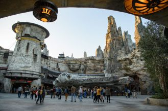Star Wars: GalaxyÕs Edge at Disneyland Park in Anaheim, California, and at Disney's Hollywood Studios in Lake Buena Vista, Florida, is Disney's largest single-themed land expansion ever at 14-acres each, transporting guests to Black Spire Outpost, a village on the planet of Batuu. Guests will discover two signature attractions. Millennium Falcon: Smugglers Run (pictured), available opening day, and Star Wars: Rise of the Resistance, opening later this year. (Todd Wawrychuk/Disney Parks)