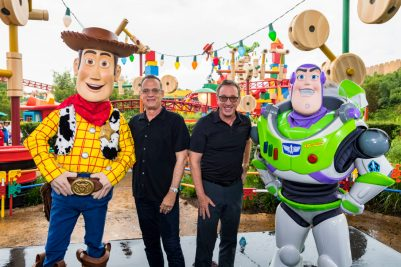 ORLANDO, FLORIDA - JUNE 08: Tom Hanks and Tim Allen visit Toy Story Land at Disney's Hollywood Studios on June 08, 2019 in Orlando, Florida.