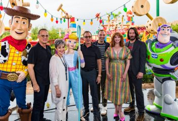 ORLANDO, FLORIDA - JUNE 08: Tom Hanks, Annie Potts, Tim Allen, Tony Hale, Christina Hendricks and Keanu Reeves visit Toy Story Land at Disney's Hollywood Studios on June 08, 2019 in Orlando, Florida.