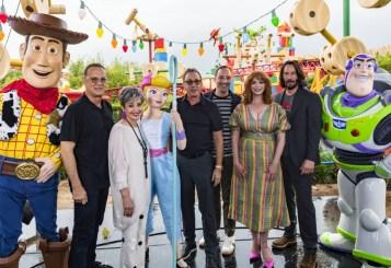 ORLANDO, FLORIDA - JUNE 08: Tom Hanks, Annie Potts, Tim Allen, Tony Hale, Christina Hendricks and Keanu Reeves visit Toy Story Land at Disney's Hollywood Studios on June 08, 2019 in Orlando, Florida.