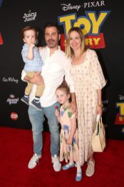 HOLLYWOOD, CA - JUNE 11: (L-R) William Kimmel, Jimmy Kimmel, Jane Kimmel, and Molly McNearney attend the world premiere of Disney and Pixar's TOY STORY 4 at the El Capitan Theatre in Hollywood, CA on Tuesday, June 11, 2019. (Photo by Jesse Grant/Getty Images for Disney) *** Local Caption *** Molly McNearney; Jane Kimmel; Jimmy Kimmel; William Kimmel