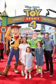 HOLLYWOOD, CA - JUNE 11: Alyson Hannigan, Alexis Denisof, Keeva Jane Denisof, and Satyana Marie Denisof attend the world premiere of Disney and Pixar's TOY STORY 4 at the El Capitan Theatre in Hollywood, CA on Tuesday, June 11, 2019. (Photo by Alberto E. Rodriguez/Getty Images for Disney) *** Local Caption *** Satyana Marie Denisof; Keeva Jane Denisof; Alexis Denisof; Alyson Hannigan