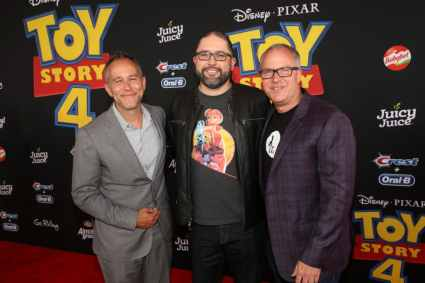 HOLLYWOOD, CA - JUNE 11: (L-R) Producer Jonas Rivera, director Josh Cooley and producer Mark Nielsen attend the world premiere of Disney and Pixar's TOY STORY 4 at the El Capitan Theatre in Hollywood, CA on Tuesday, June 11, 2019. (Photo by Jesse Grant/Getty Images for Disney) *** Local Caption *** Jonas Rivera; Josh Cooley; Mark Nielsen