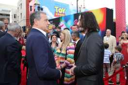 HOLLYWOOD, CA - JUNE 11: The Walt Disney Company Chairman and CEO Bob Iger (L) and Keanu Reeves attend the world premiere of Disney and Pixar's TOY STORY 4 at the El Capitan Theatre in Hollywood, CA on Tuesday, June 11, 2019. (Photo by Rich Polk/Getty Images for Disney) *** Local Caption *** Bob Iger; Keanu Reeves