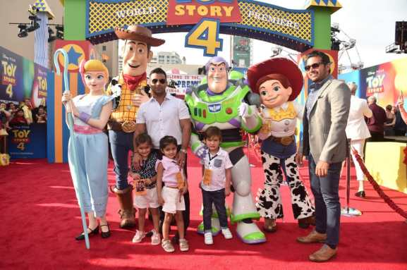 HOLLYWOOD, CA - JUNE 11: President, Marketing, The Walt Disney Studios, Asad Ayaz (R) Harma Hartouni and family attend the world premiere of Disney and Pixar's TOY STORY 4 at the El Capitan Theatre in Hollywood, CA on Tuesday, June 11, 2019. (Photo by Alberto E. Rodriguez/Getty Images for Disney) *** Local Caption *** Harma Hartouni; Asad Ayaz