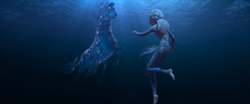 """In Walt Disney Animation Studios' """"Frozen 2, Elsa encounters a Nokk—a mythical water spirit that takes the form of a horse—who uses the power of the ocean to guard the secrets of the forest. Featuring the voice of Idina Menzel as Elsa, """"Frozen 2"""" opens in U.S. theaters November 22. ©2019 Disney. All Rights Reserved."""