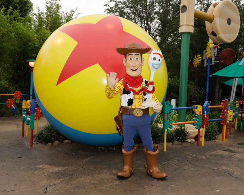 ORLANDO, FLORIDA - JUNE 08: 'Woody' and 'Forky' visit Toy Story Land at Disney's Hollywood Studios on June 08, 2019 in Orlando, Florida. (Photo by John Parra/Getty Images for Disney)