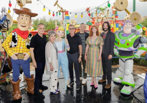 ORLANDO, FLORIDA - JUNE 08: Tom Hanks, Annie Potts, Tim Allen, Tony Hale, Christina Hendricks and Keanu Reeves visit Toy Story Land at Disney's Hollywood Studios on June 08, 2019 in Orlando, Florida. (Photo by John Parra/Getty Images for Disney)