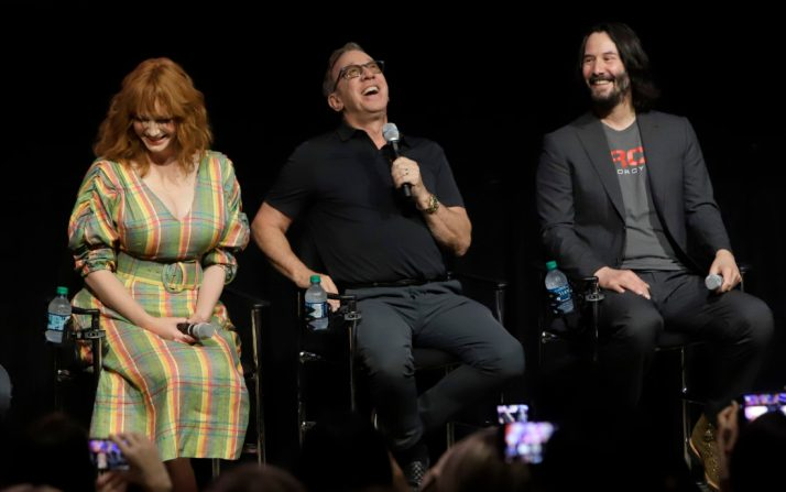 ORLANDO, FLORIDA - JUNE 08: (L-R) Christina Hendricks, Tim Allen and Keanu Reeves attend the Global Press Junket for Pixar's TOY STORY 4 at Disney's Hollywood Studios on June 08, 2019 in Orlando, Florida. (Photo by John Parra/Getty Images for Disney)