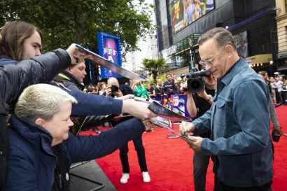 """Tom Hanks attends the European Premiere for Disney and Pixar's """"Toy Story 4"""" in at Odeon Leicester Square on 16 June 2019 in London, UK"""
