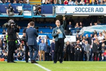Tom Hanks and Dermot O'Leary at Stamford Bridge, Soccer Aid 2019..Credit : James Gillham /StillMoving.net for Disney