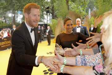 Harry, Duke of Sussex and Meghan, Duchess of Sussex attend the European Premiere of DisneyÕs ÒThe Lion KingÓ at the Odeon Leicester Square on 14th July 2019 in London, UK