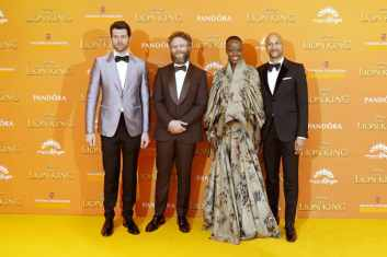 Billy Eichner, Seth Rogen, Florence Kasumba and Keegan-Michael Key attend the European Premiere of DisneyÕs ÒThe Lion KingÓ at the Odeon Leicester Square on 14th July 2019 in London, UK