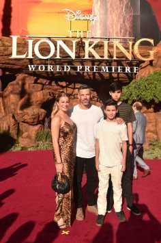 """HOLLYWOOD, CALIFORNIA - JULY 09: (L-R) LeAnn Rimes, Eddie Cibrian, Jake Austin Cibrian, and Mason Edward Cibrian attend the World Premiere of Disney's """"THE LION KING"""" at the Dolby Theatre on July 09, 2019 in Hollywood, California. (Photo by Alberto E. Rodriguez/Getty Images for Disney)"""