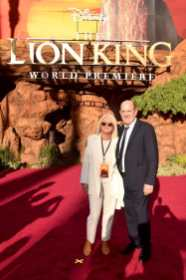 "HOLLYWOOD, CALIFORNIA - JULY 09: Producer Jeffrey Silver (R) and guest attend the World Premiere of Disney's ""THE LION KING"" at the Dolby Theatre on July 09, 2019 in Hollywood, California. (Photo by Alberto E. Rodriguez/Getty Images for Disney)"