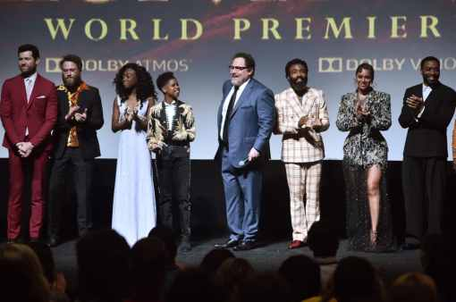 """HOLLYWOOD, CALIFORNIA - JULY 09: (L-R) Billy Eichner, Seth Rogen, Shahadi Wright Joseph, JD McCrary, Director/Producer Jon Favreau, Donald Glover, Beyonce Knowles-Carter, and Chiwetel Ejiofor attend the World Premiere of Disney's """"THE LION KING"""" at the Dolby Theatre on July 09, 2019 in Hollywood, California. (Photo by Alberto E. Rodriguez/Getty Images for Disney)"""