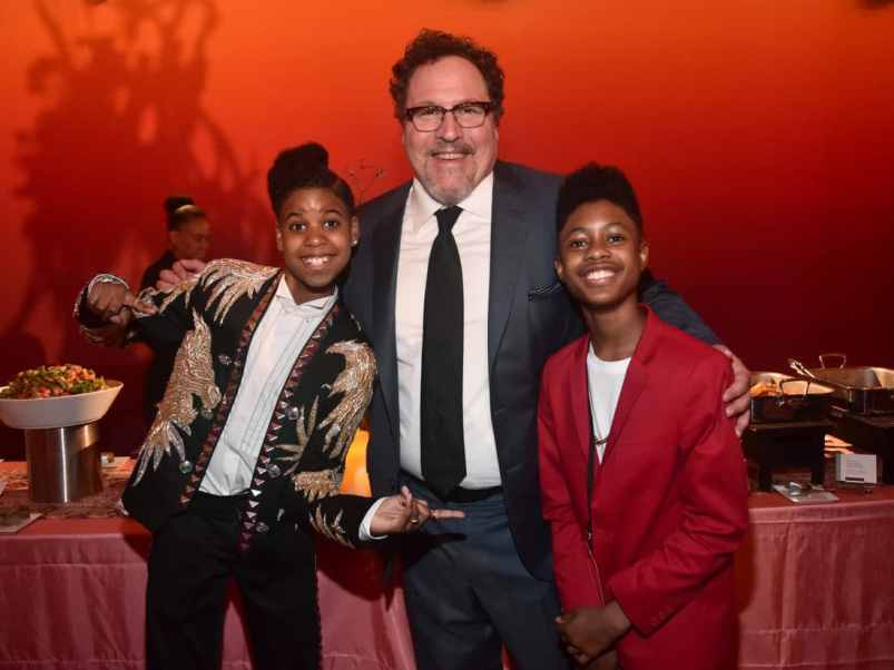 """HOLLYWOOD, CALIFORNIA - JULY 09: (L-R) JD McCrary, Jon Favreau, and Josh McCrary attend the World Premiere of Disney's """"THE LION KING"""" at the Dolby Theatre on July 09, 2019 in Hollywood, California. (Photo by Alberto E. Rodriguez/Getty Images for Disney)"""