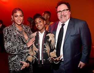 "HOLLYWOOD, CALIFORNIA - JULY 09: (L-R) Beyonce Knowles-Carter, JD McCrary and Director/producer Jon Favreau attend the World Premiere of Disney's ""THE LION KING"" at the Dolby Theatre on July 09, 2019 in Hollywood, California. (Photo by Alberto E. Rodriguez/Getty Images for Disney)"