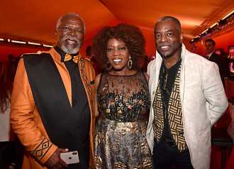 """HOLLYWOOD, CALIFORNIA - JULY 09: (L-R) John Kani, Alfre Woodard and LeVar Burton attend the World Premiere of Disney's """"THE LION KING"""" at the Dolby Theatre on July 09, 2019 in Hollywood, California. (Photo by Alberto E. Rodriguez/Getty Images for Disney)"""