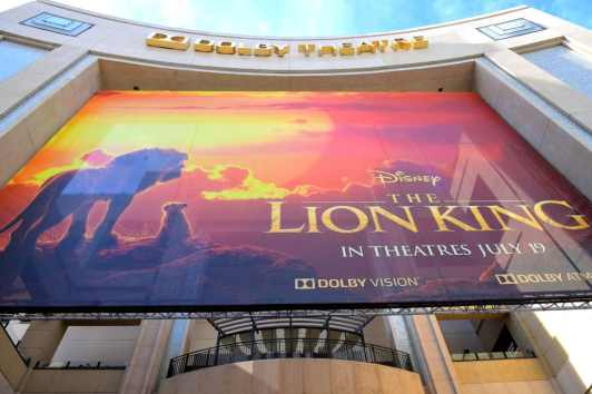 "HOLLYWOOD, CALIFORNIA - JULY 09: Signage is seen during the World Premiere of Disney's ""THE LION KING"" at the Dolby Theatre on July 09, 2019 in Hollywood, California. (Photo by Alberto E. Rodriguez/Getty Images for Disney)"