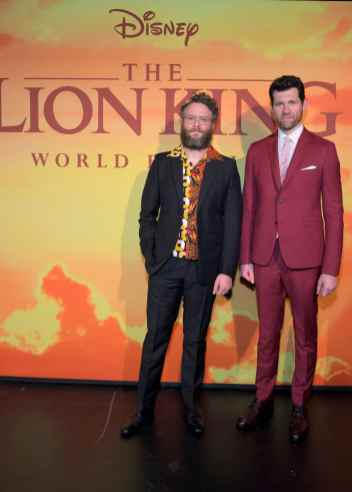 "HOLLYWOOD, CALIFORNIA - JULY 09: Seth Rogen and Billy Eichner attend the World Premiere of Disney's ""THE LION KING"" at the Dolby Theatre on July 09, 2019 in Hollywood, California. (Photo by Charley Gallay/Getty Images for Disney)"