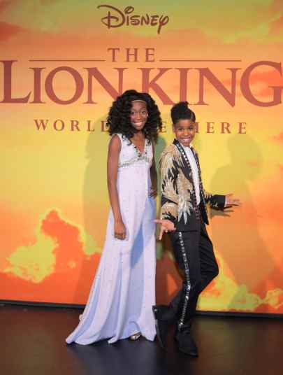 "HOLLYWOOD, CALIFORNIA - JULY 09: Shahadi Wright Joseph and JD McCrary attend the World Premiere of Disney's ""THE LION KING"" at the Dolby Theatre on July 09, 2019 in Hollywood, California. (Photo by Charley Gallay/Getty Images for Disney)"