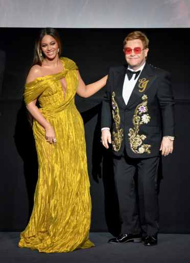 "LONDON, ENGLAND - JULY 14: Beyonce Knowles-Carter and Sir Elton John attend the European Premiere of Disney's ""The Lion King"" at Odeon Luxe Leicester Square on July 14, 2019 in London, England. (Photo by Gareth Cattermole/Getty Images for Disney)"