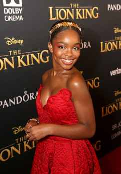 "HOLLYWOOD, CALIFORNIA - JULY 09: Marsai Martin attends the World Premiere of Disney's ""THE LION KING"" at the Dolby Theatre on July 09, 2019 in Hollywood, California. (Photo by Jesse Grant/Getty Images for Disney)"