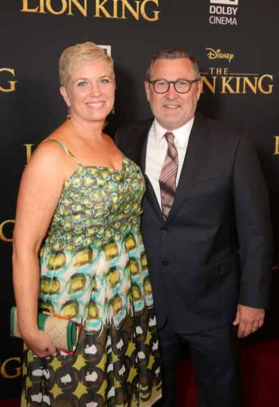 "HOLLYWOOD, CALIFORNIA - JULY 09: Executive producer Tom Peitzman (R) and guest attend the World Premiere of Disney's ""THE LION KING"" at the Dolby Theatre on July 09, 2019 in Hollywood, California. (Photo by Jesse Grant/Getty Images for Disney)"