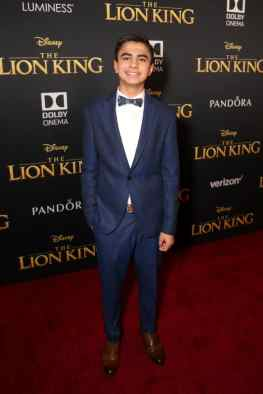 "HOLLYWOOD, CALIFORNIA - JULY 09: Neel Sethi attends the World Premiere of Disney's ""THE LION KING"" at the Dolby Theatre on July 09, 2019 in Hollywood, California. (Photo by Jesse Grant/Getty Images for Disney)"