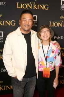 "HOLLYWOOD, CALIFORNIA - JULY 09: Roy Choi (L) and Kaelyn Choi attend the World Premiere of Disney's ""THE LION KING"" at the Dolby Theatre on July 09, 2019 in Hollywood, California. (Photo by Jesse Grant/Getty Images for Disney)"