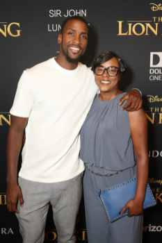 "HOLLYWOOD, CALIFORNIA - JULY 09: Michael Kidd-Gilchrist (L) attends the World Premiere of Disney's ""THE LION KING"" at the Dolby Theatre on July 09, 2019 in Hollywood, California. (Photo by Jesse Grant/Getty Images for Disney)"