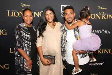 "HOLLYWOOD, CALIFORNIA - JULY 09: (L-R) Lisa Bennett, Kirsten Corley, Chance The Rapper, and Kensli Bennett attend the World Premiere of Disney's ""THE LION KING"" at the Dolby Theatre on July 09, 2019 in Hollywood, California. (Photo by Jesse Grant/Getty Images for Disney)"