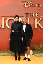 "Helen Lasichanh and Pharrell Williams attend the European Premiere of Disney's ""The Lion King"" at the Odeon Leicester Square on 14th July 2019 in London, UK"